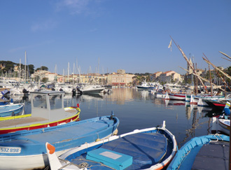 Sanary harbour with apartment in the distance